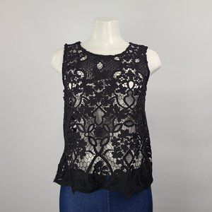 Acemi Black Lace Sleeveless Top Size M